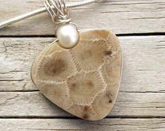 Petoskey Stone - Petoskey Stone Jewelry - Petoskey Stone Pendant - Petoskey Stone Necklace - Stone Jewelry - Fossil Jewelry