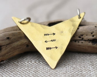Hand Stamped Arrowhead Necklace, Brass, Sterling Silver