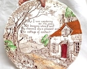 Royal Staffordshire Wall Plate - Country Cottage Scene - Scalloped Edge on Plate, Top drilled hole - Rust Brown - Ceramic Made in England