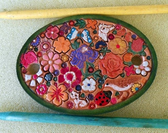 Leather Hair Barrette with Colorful Flowers and Butterflies Ladybug  Bird  and Two Sticks