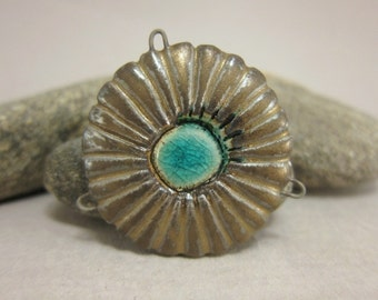Giant Bronze Daisy Connector in Stoneware with Recycled Glass