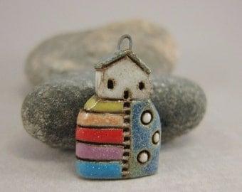 Hilltop Cottage...Stoneware Pendant / Necklace