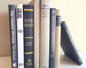 Set of 8 Vintage Books Perfect for Home Decor in Tan Black Grey Gray Gold Cream