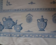 Vintage Printed Linen or Cotton Tablecloth with Wedgwood Teapot Design Novelty Print