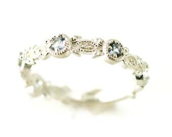 Sterling Leaf Ring - Gemstone Stacking Band - Wedding or Anniversay Ring - Aquamarine Ring