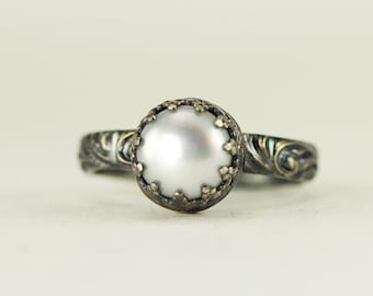 Pearl Sterling Silver Ring - June Birthstone Ring - 7mm White Pearl Stack Ring