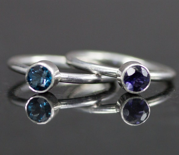 5 mm Sterling Stacking Rings - Genuine Gemstone Rings - Customize Your Stone and Band