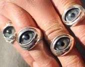 Sterling Silver Prosthetic Glass Eyelid Ring, Order Here, Free Domestic Shipping