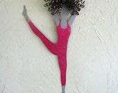 Metal Wall Art Modern Dance Sculpture Recycled Metal Ballet Wall Dancer Magenta Lady Dancer 10 x 20