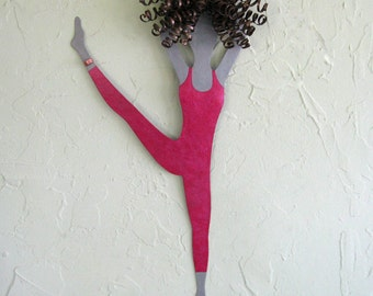 Metal Wall Art Modern Dance Sculpture Recycled Metal Ballet Wall Dancer Magenta Lady Dancer 10 x 20