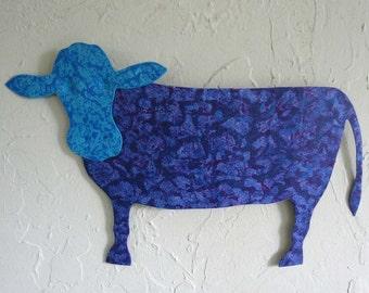 Metal Art Wall Cow Sculpture Blue Purple Recycled metal Folk Art Barnyard Animal Wall Art Farm Life Wall Hanging 11 x 18