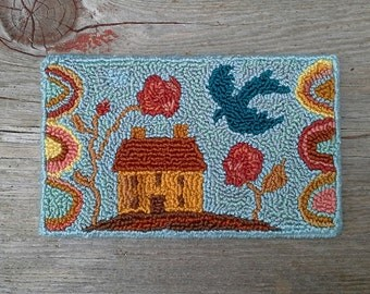 "Folk Art Miniature Punch Needle Dollhouse Rug ""Blue Bird"""