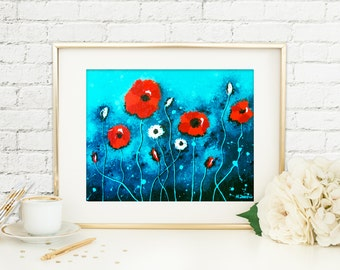 Red Poppies Print, Flower Wall Art, Poppy Art, Giclee Print from Original Painting, Signed Archival Print