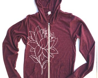 Unisex LOTUS Flower Triblend Zip Lightweight Hoody -  xs s m l xl (+ Colors)