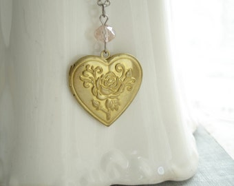Heart Locket Necklace. Rose Necklace. Vintage Brass Locket Necklace. Silver and Gold Layering Necklace. Mixed Metal Jewelry. Simple Gift.