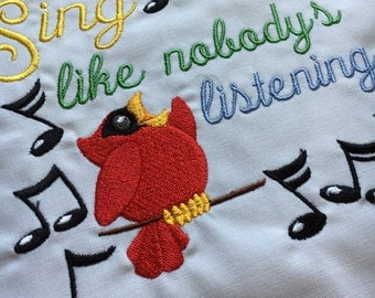 Embroidered quilt block - Sing Like Nobody's Listening - ready to sew or frame 10 inch square / sewist / DIY / cardinal / inspiration / gift