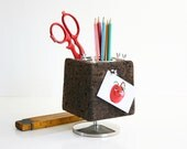 Mid Century Modern Park Sherman Cork Desk Caddy / Vintage Pedestal Desk Organizer / Cork Pencil Holder