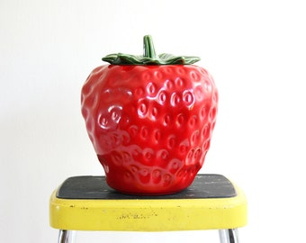 Vintage McCoy Strawberry Cookie Jar / Mid Century McCoy Ceramic Fruit Canister