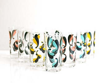 Mid Century Modern Drinking Glasses / Mid Century Glasses / Colorful Vintage Drinking Glasses / Mid Century Glassware