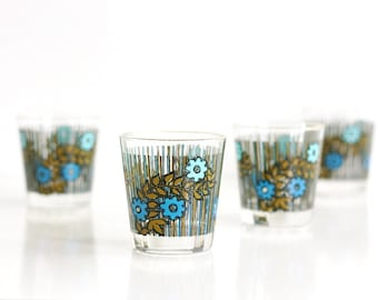 Mid Century Modern Floral Drinking Glasses / Colorful Vintage Flower Tumblers