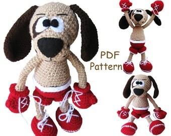 Crochet toy Amigurumi Pattern  - Boxer puppy.