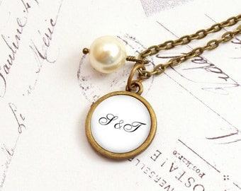 Personalized Pendant Necklace, Initial Necklace, Monogram Pendant, Antiqued Brass, Keepsake Pendant, Gift Under 20USD, Memento Necklace