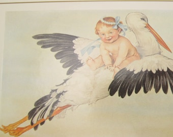 Vintage Greeting Card Flying Stork Baby Victorian New Baby Congratulations