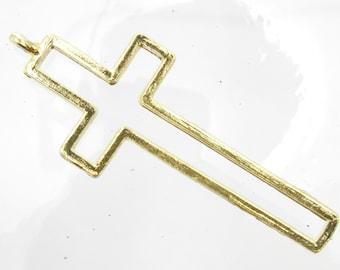 38x16mm Gold Base Metal Modern Cross Pendant - Qty 4 (G402)