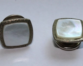 Antique Slip Grip Mother of Pearl Cuff Links, Late 1800's to Early 1900's