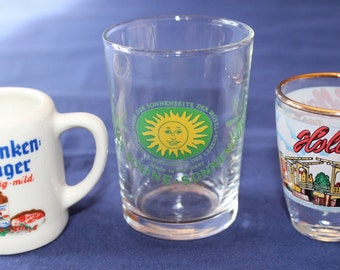 SALE! Vintage Collection of 3 Different Shot Glasses,  Germany and Holland