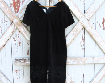 Claire - vintage 1980s Laura Ashley black velvet dress 12