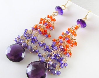 25% Off Summer Sale Amethyst and Gold Filled Long Orange And Purple Cluster Earrings