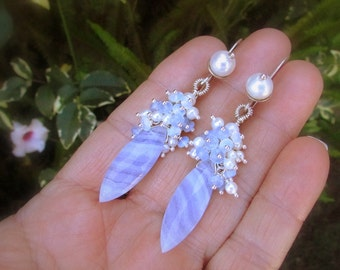 Blue Lace Agate With Pearl and Opalite Sterling Earrings