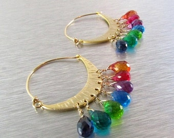 BIGGEST SALE EVER Rainbow Quartz Gold Filled Hoops