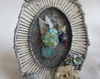 The Hummingbird King, Hummingbird Art, Hummingbird Collage, Vintage Jewelry Collage, Jewelry Collage
