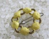 vintage  barrette tiny ring of seashells, yellow barrette