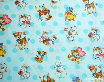 Japanese Fabric - QUILT GATE - Dear Little World - Cute Animals on Lime - Fat Quaretr (ha160804)