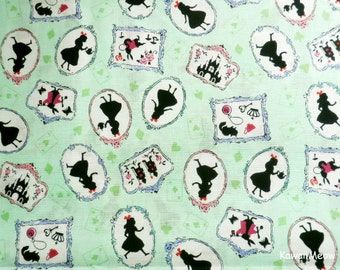Japanese Fabric  - Alice in Wonderland on Green - Half Yard (nu160201)