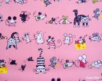 Kawaii Japanese Fabric - Cats & Rattus on Pink - Fat Quarter (ta20160427)