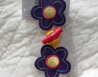 Vintage Toggle Flower Applique - Hippy, Fastener, Closure, MIP, Frog, Navy, Pink and Yellow