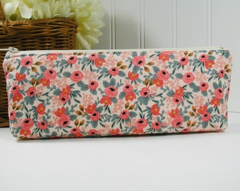 Long Zipper Pouch, Long Zipper Pouch, Long Pencil Case, Pencil Pouch.. Les Fleurs Rosa in Peach, Rifle Paper Co