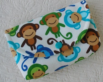 Large Snap Pouch ... Urban Zoologie Monkeys in Royal Blue and Aqua