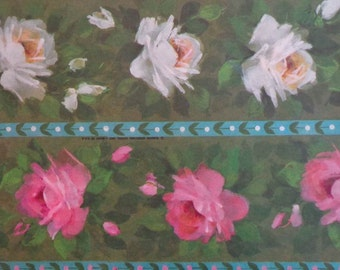 Vintage 1960s Gift Wrap All Occasion Pink & White Rose Print Wrapping Paper 1 Sheet