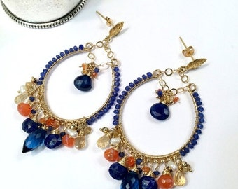 SUMMER SALE Blue Hoop Earring Gold Hoop Earring Blue Gemstone Chandelier Hoop Earring Colorful Statement Blue Lapis Beaded Boho Chandelier R