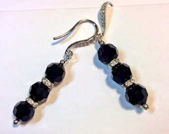 60% FLASH SALE Black Crystal Earrings Sterling Silver Swarovski Crystal Art Deco Style Dangle Earrings Evening Earrings