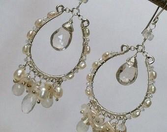35% FLASH SALE Gemstone Hoop Earring Boho Chic Statement Wedding Chandelier Earrings Moonstone  Sterling Silver Wire Wrap Bohemian Handmade