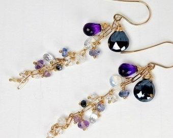 BLACK FRIDAY SALE Black Dangle Earrings Wire Wrap Gold Fill Opal Amethyst Chain Dangle Minimalist Jewelry