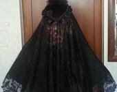 "Ladies Black Veil, Civil War Era Mouring Veil Black lace 33"" - 43"""