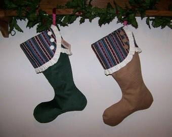 Burlap Christmas Stocking Green, Blue and Burgandy and Green Corduroy