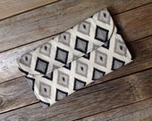 Black Diamond Diaper Clutch with Changing Pad - Gender Neutral - Grey - Gray - Baby Shower Gift - Boy - Girl - Ikat - Diamond - Geometric